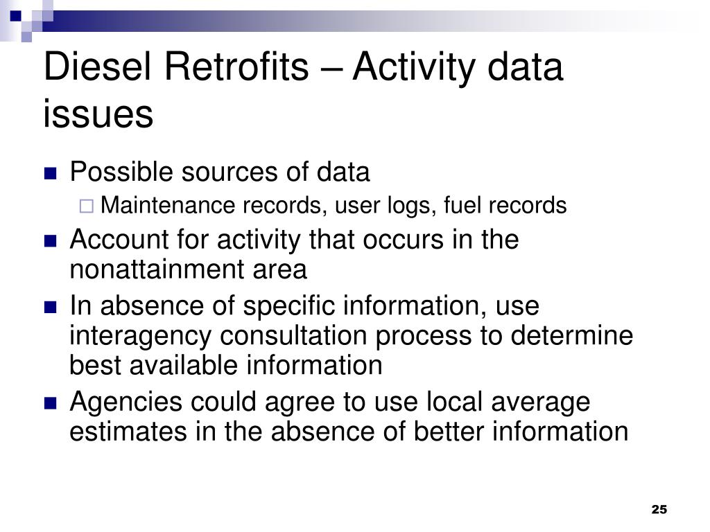 Diesel Retrofits – Activity data issues