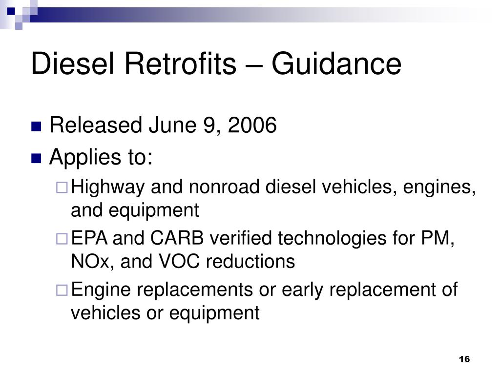 Diesel Retrofits – Guidance
