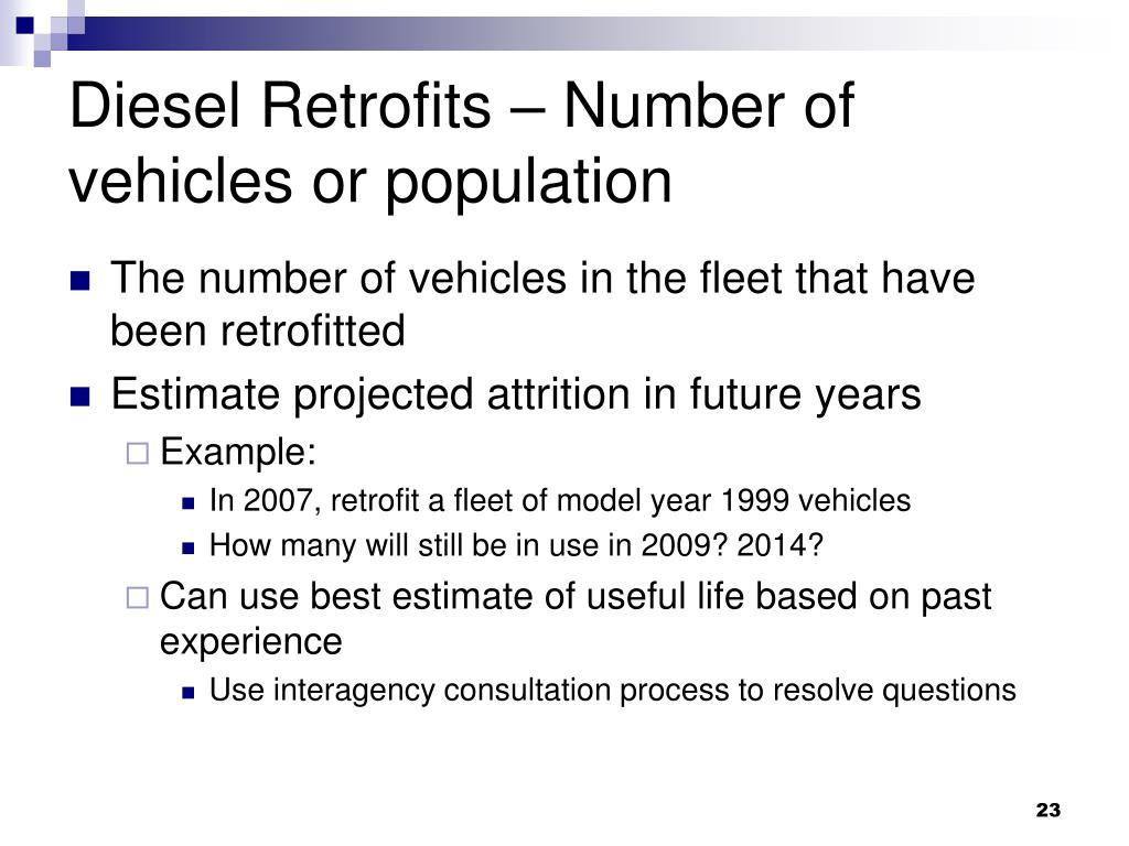 Diesel Retrofits – Number of vehicles or population