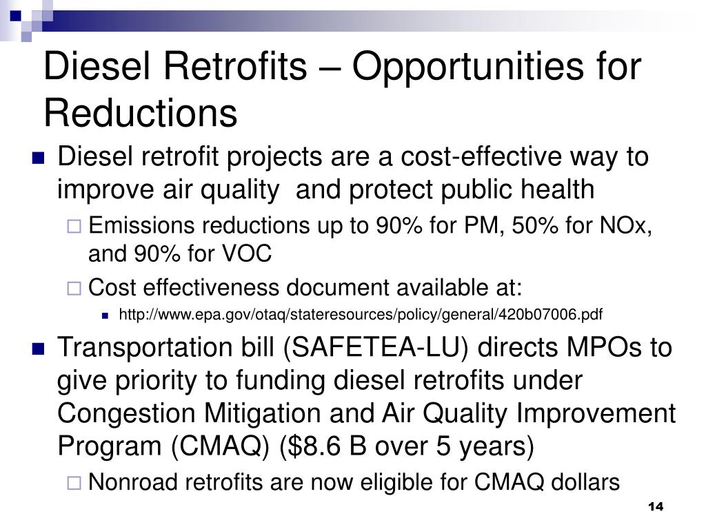 Diesel Retrofits – Opportunities for Reductions