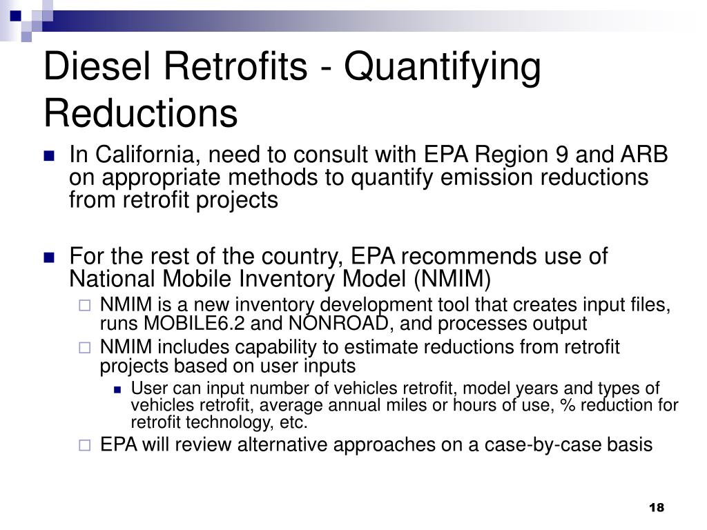 Diesel Retrofits - Quantifying Reductions