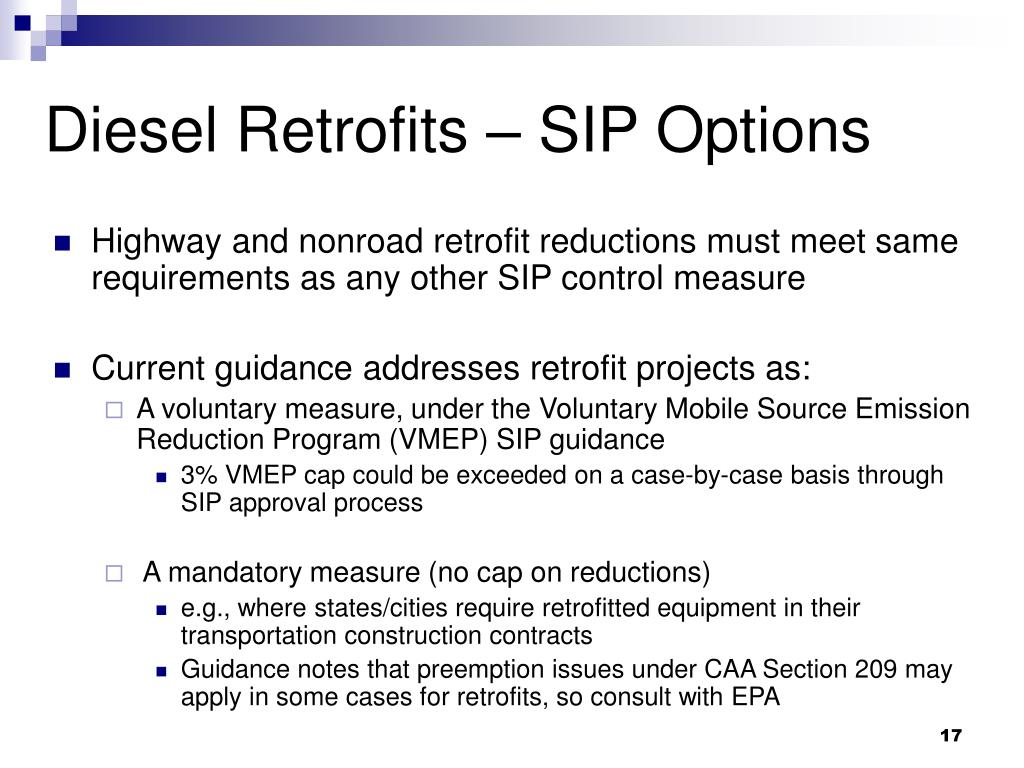 Diesel Retrofits – SIP Options