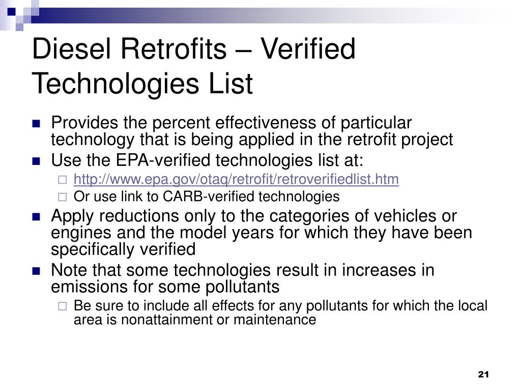 Diesel Retrofits – Verified Technologies List