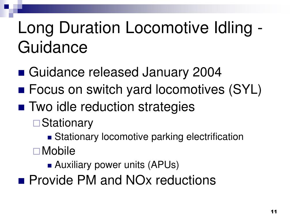 Long Duration Locomotive Idling - Guidance