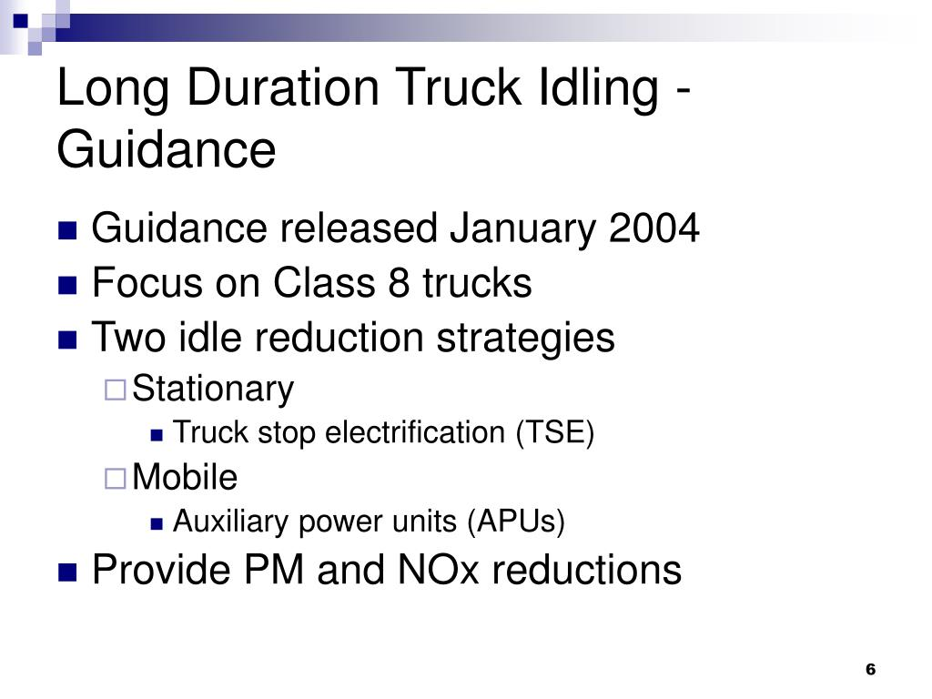 Long Duration Truck Idling - Guidance