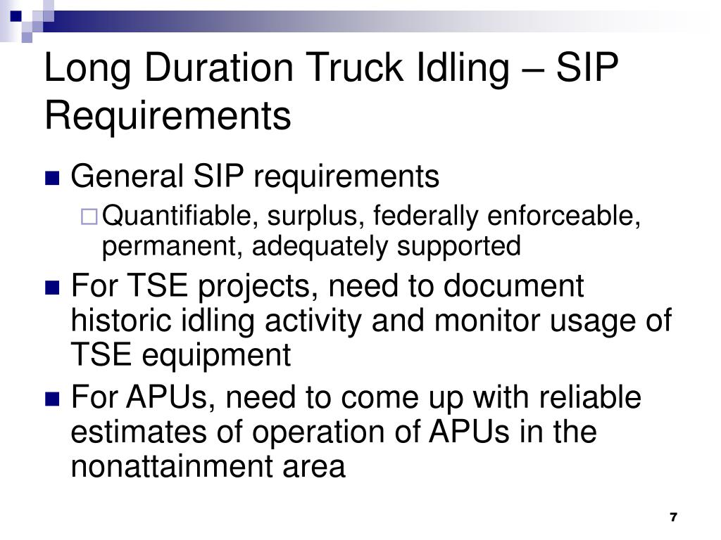 Long Duration Truck Idling – SIP Requirements