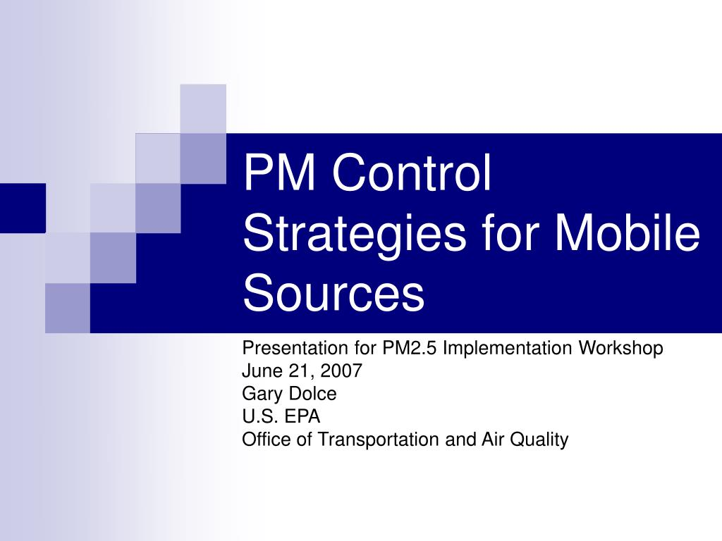 PM Control Strategies for Mobile Sources