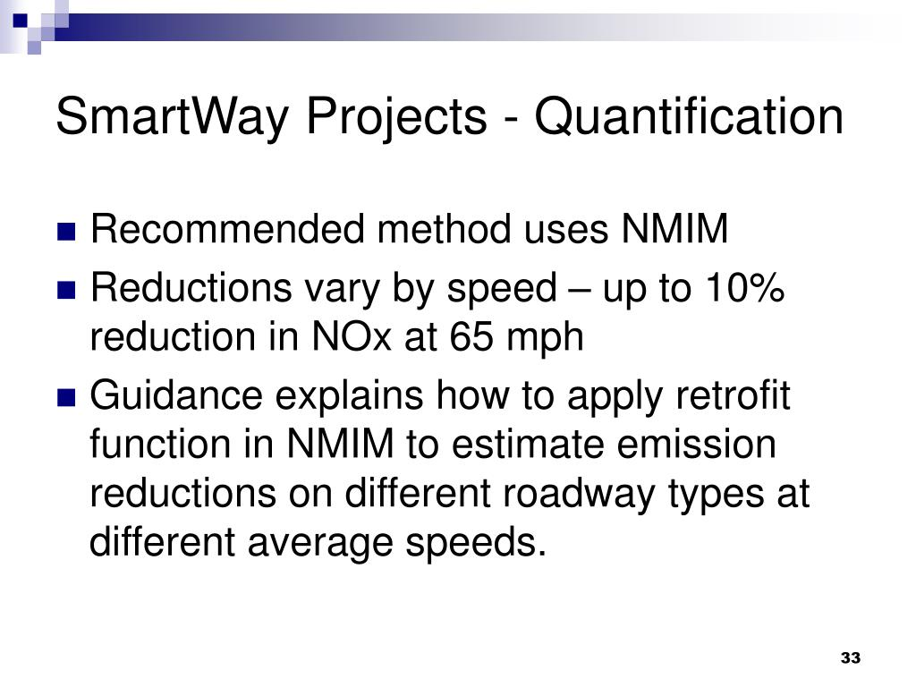 SmartWay Projects - Quantification