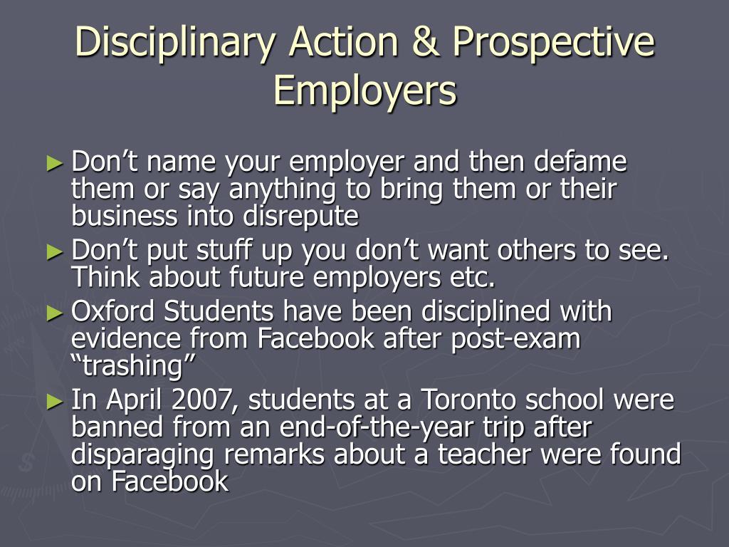 Disciplinary Action & Prospective Employers