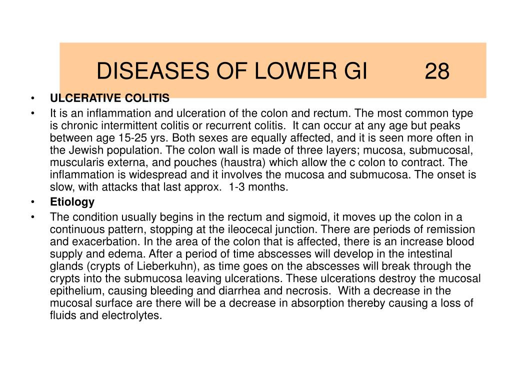 DISEASES OF LOWER GI         28