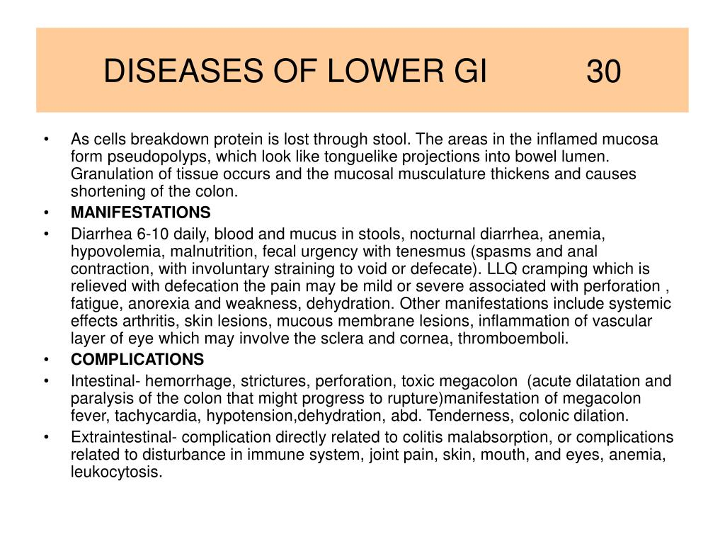 DISEASES OF LOWER GI           30
