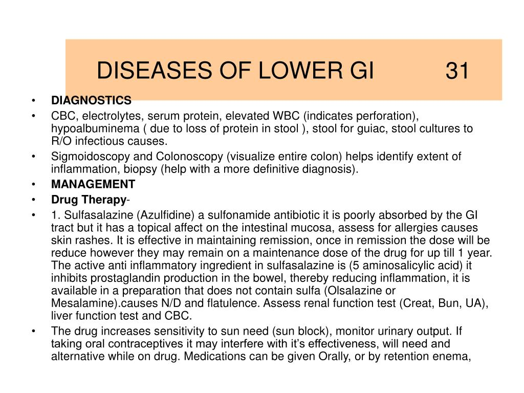 DISEASES OF LOWER GI           31
