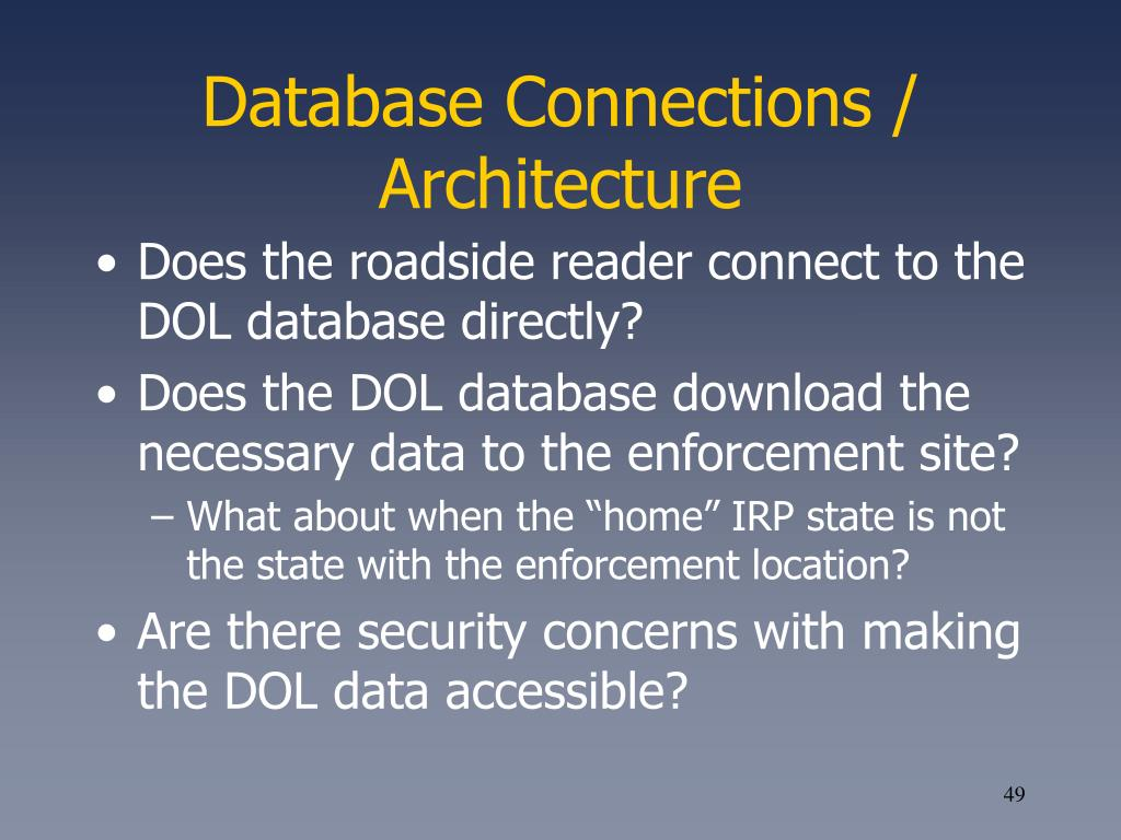 Database Connections / Architecture
