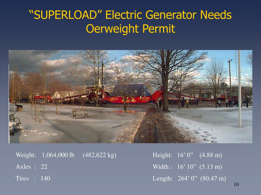 """SUPERLOAD"" Electric Generator Needs Oerweight Permit"