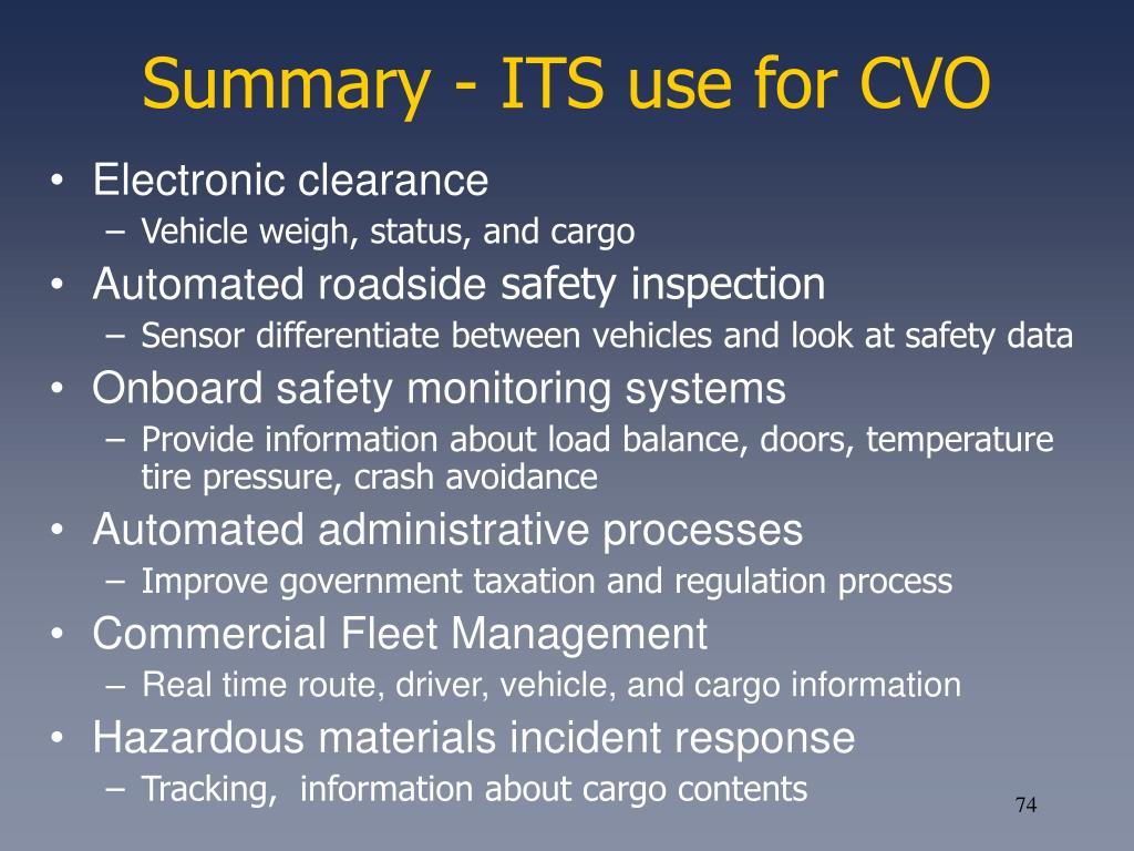 Summary - ITS use for CVO