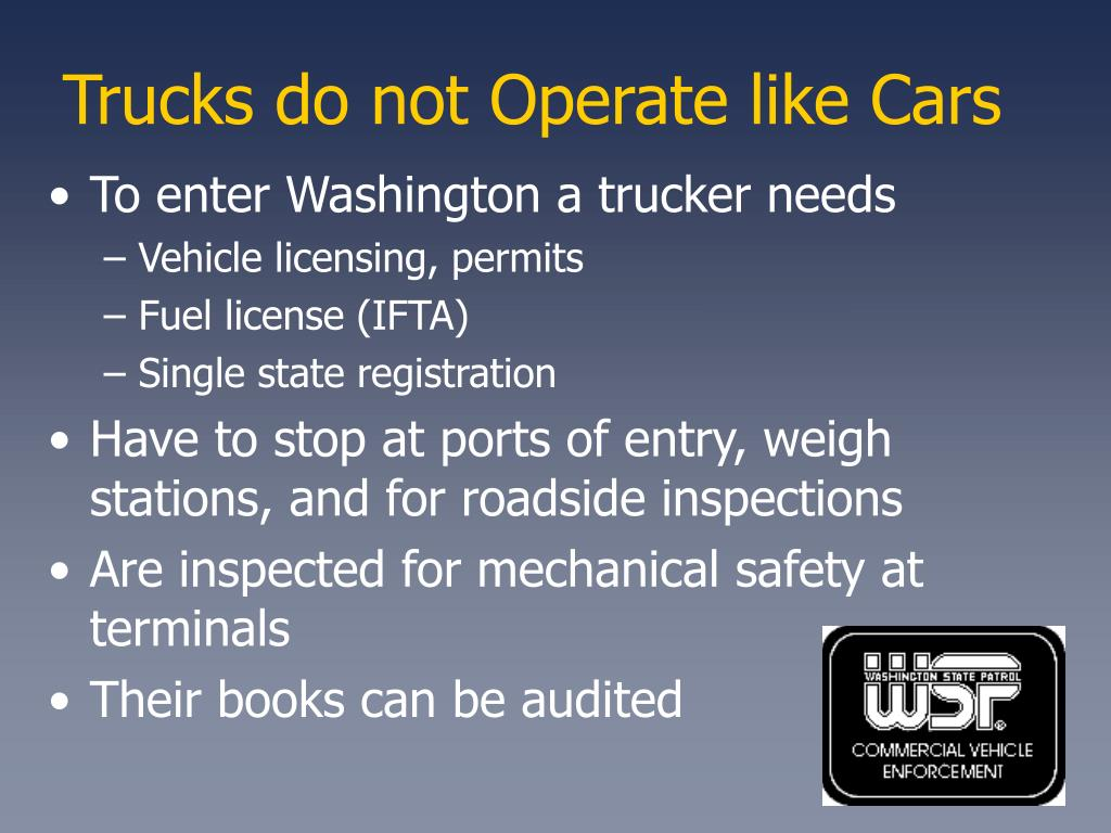 Trucks do not Operate like Cars