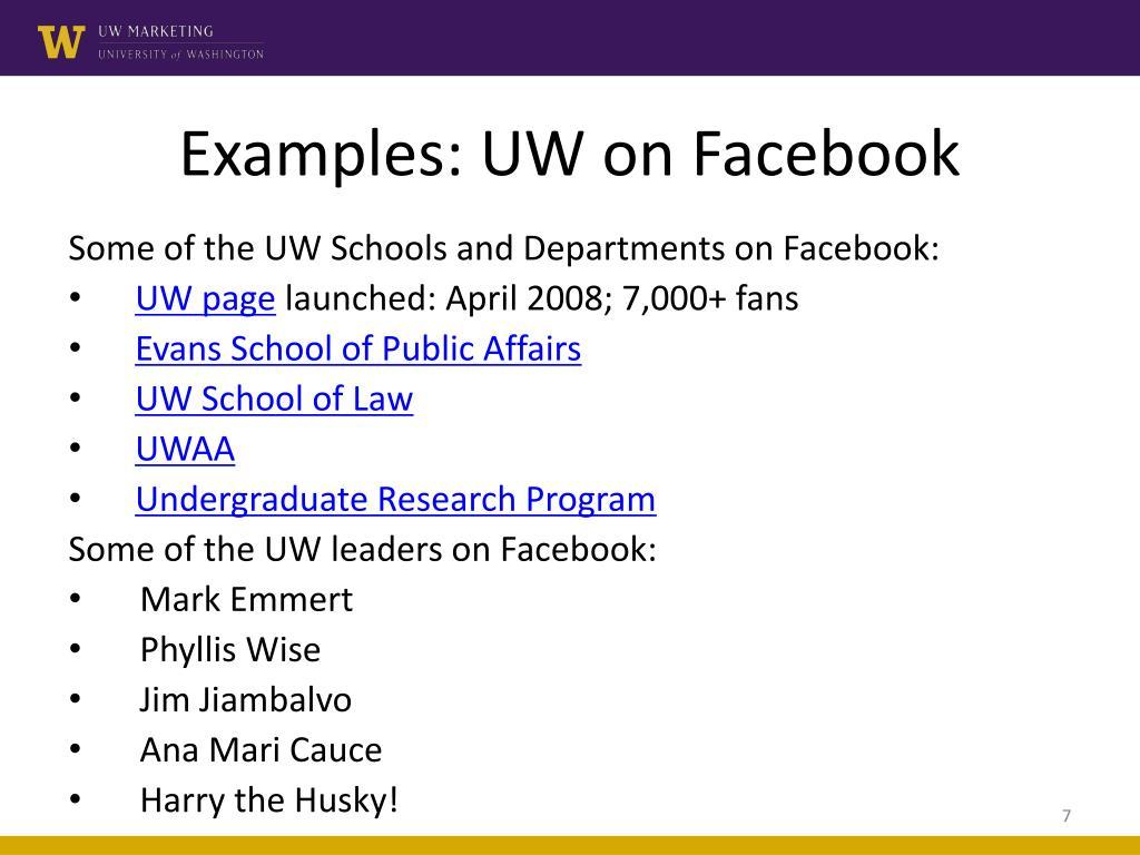 Examples: UW on Facebook