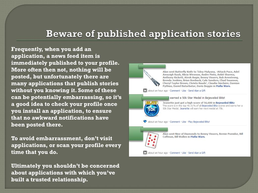 Beware of published application stories