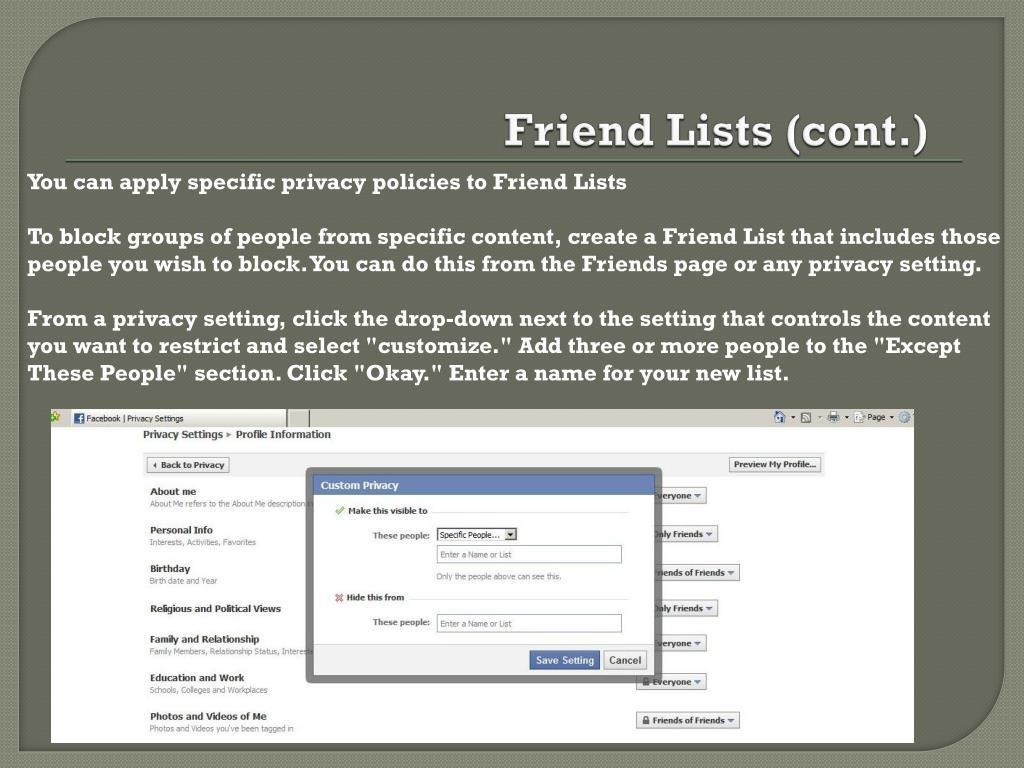 Friend Lists (cont.)
