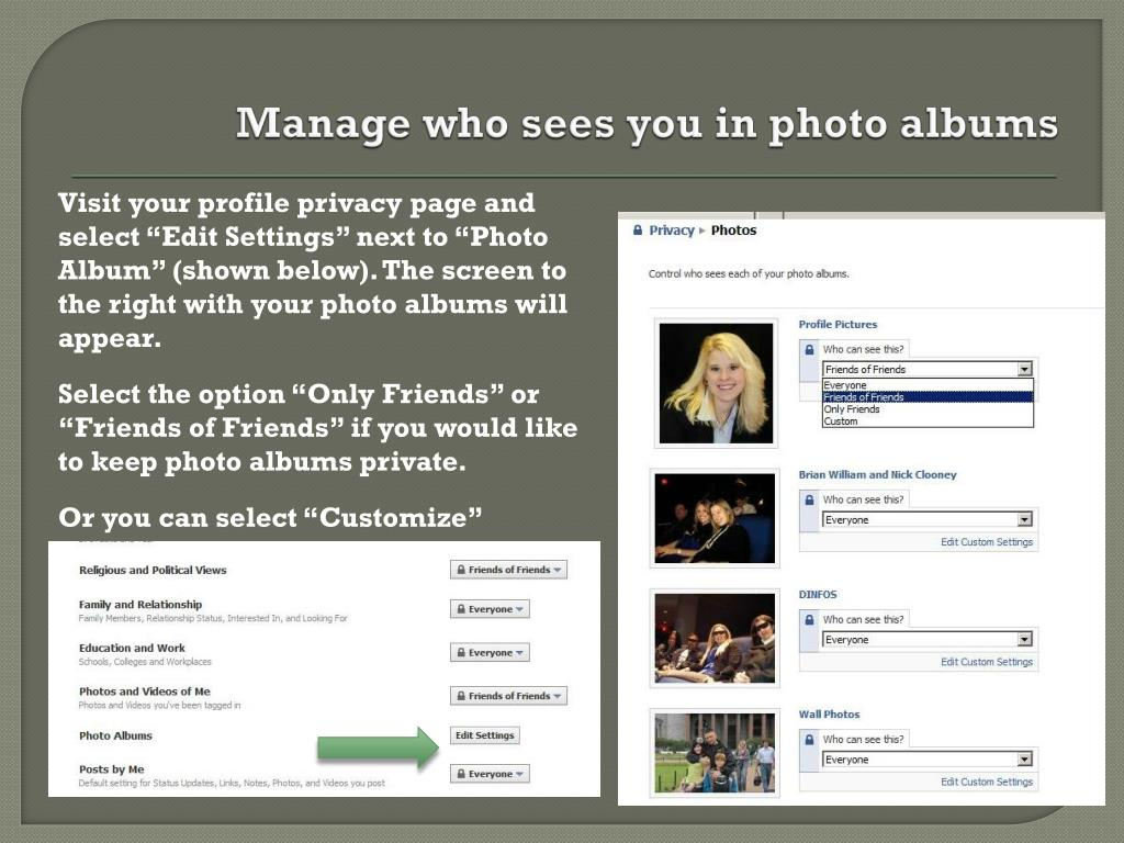 Manage who sees you in photo albums