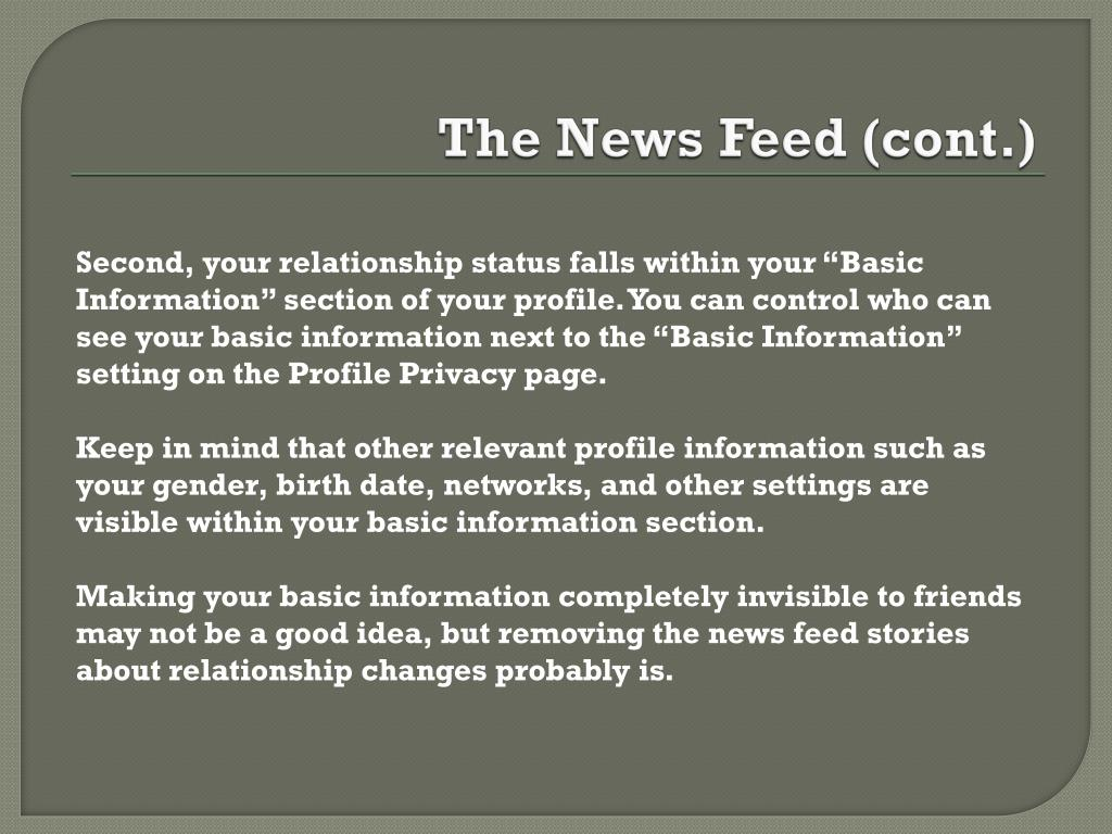 The News Feed (cont.)