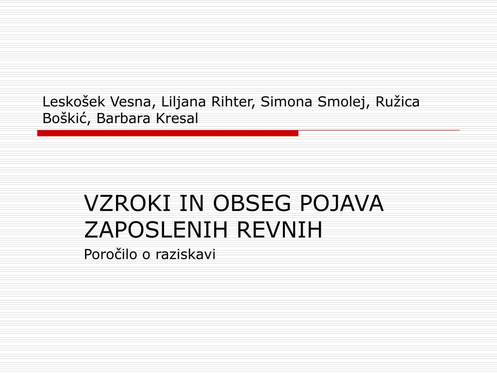 Leskošek Vesna, Liljana Rihter, Simona Smolej, Ružica Boškić, Barbara Kresal