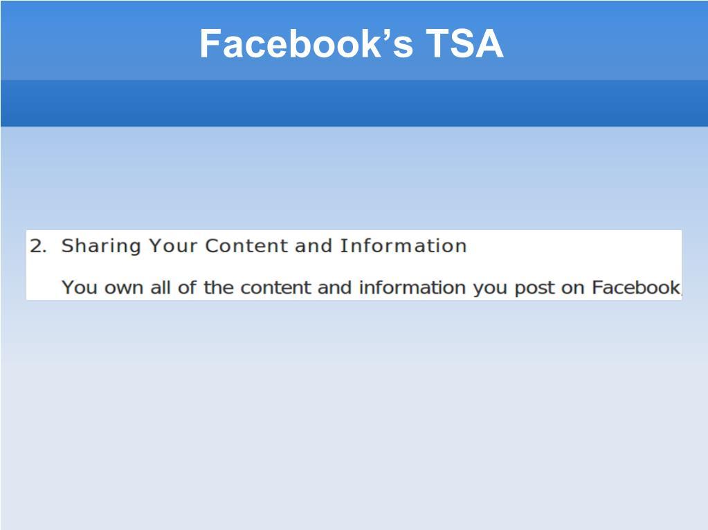 Facebook's TSA