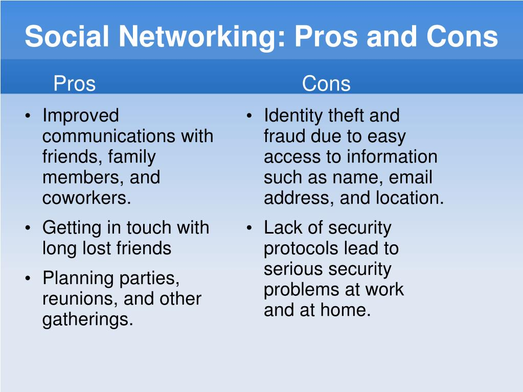 Social Networking: Pros and Cons