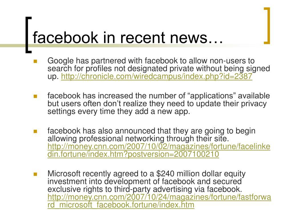 facebook in recent news…
