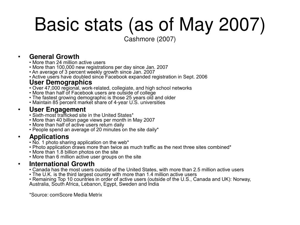Basic stats (as of May 2007)