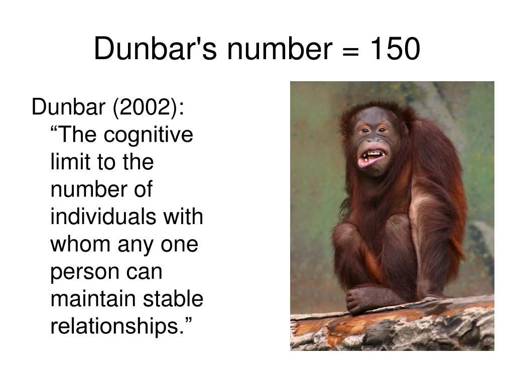 Dunbar's number = 150