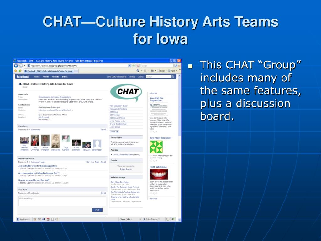 CHAT—Culture History Arts Teams