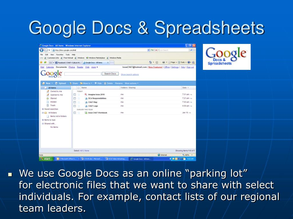 Google Docs & Spreadsheets