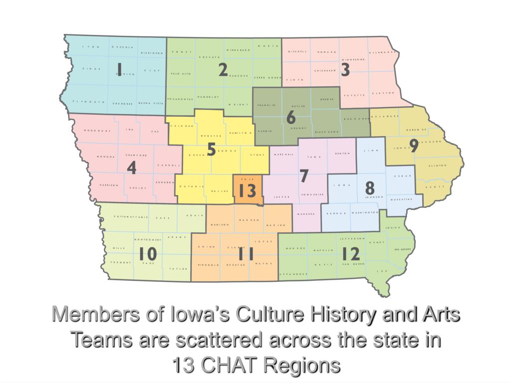 Members of Iowa's Culture History and Arts Teams are scattered across the state in