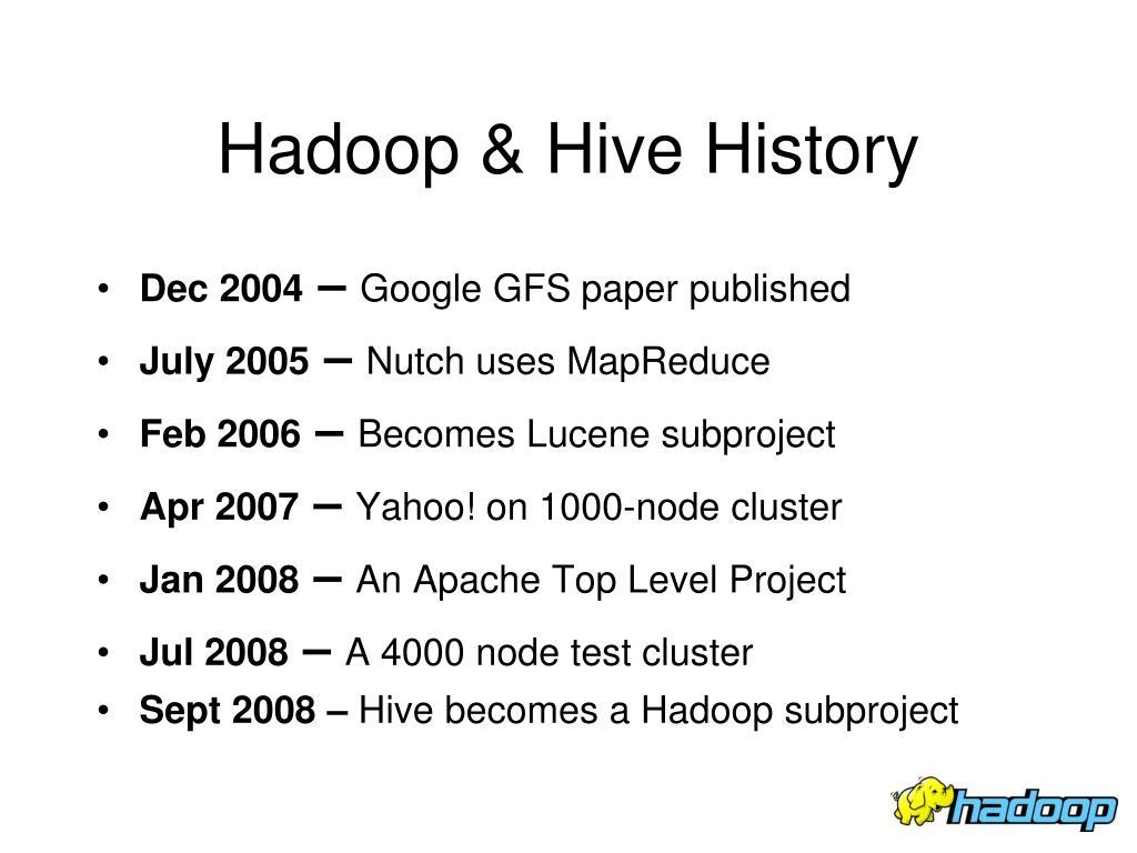 Hadoop & Hive History