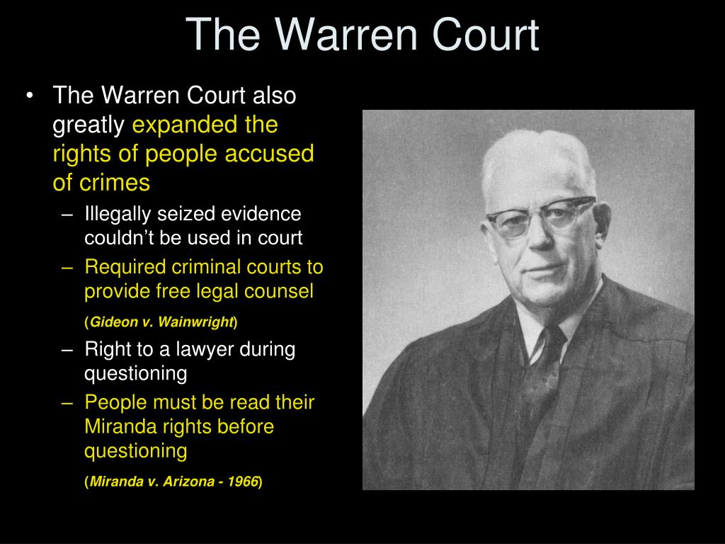 the warren court Essay on the warren court - the us supreme court was created in article iii of the constitution and has the ultimate authority on the interpretation of constitutional law and is therefore deemed the highest court in the nation (ussc.