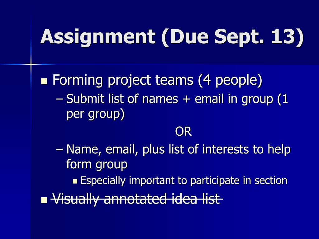 Assignment (Due Sept. 13)
