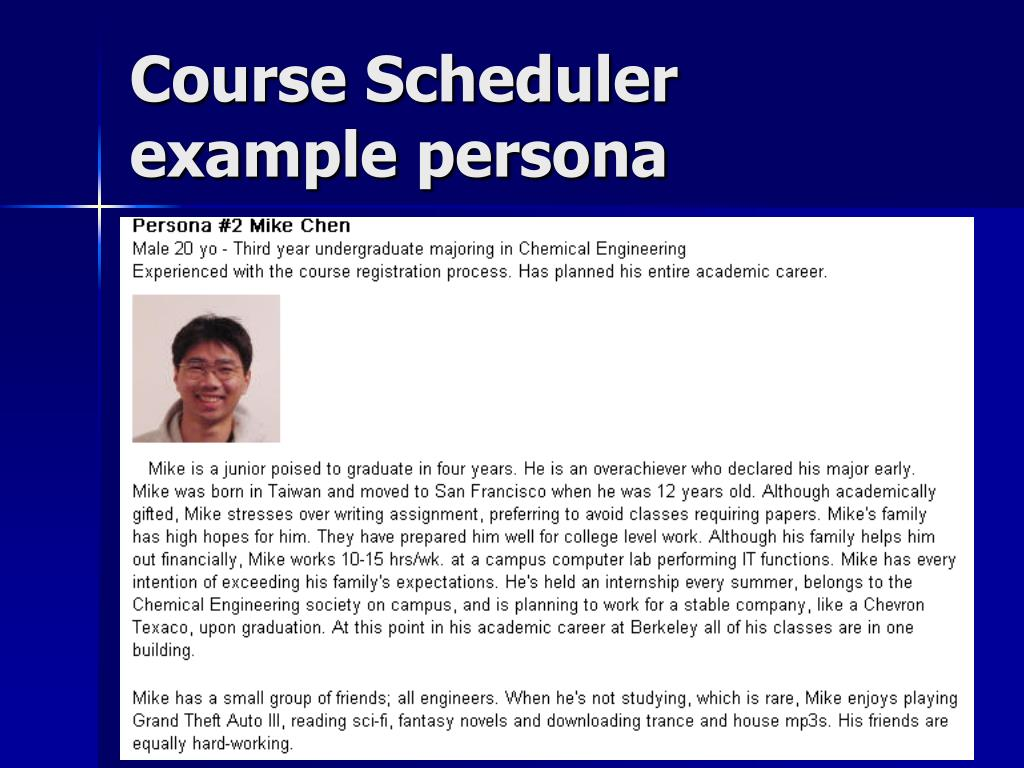 Course Scheduler example persona