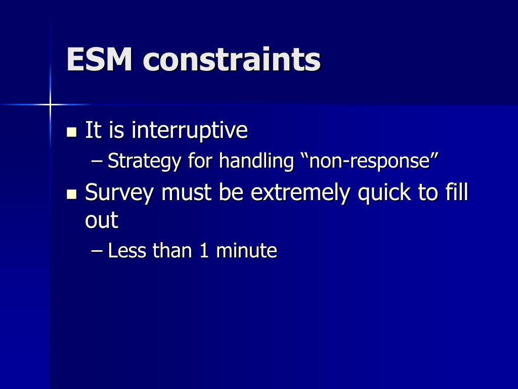 ESM constraints
