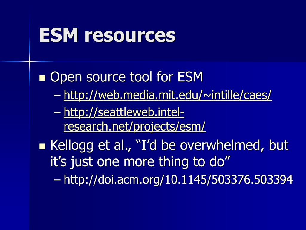 ESM resources