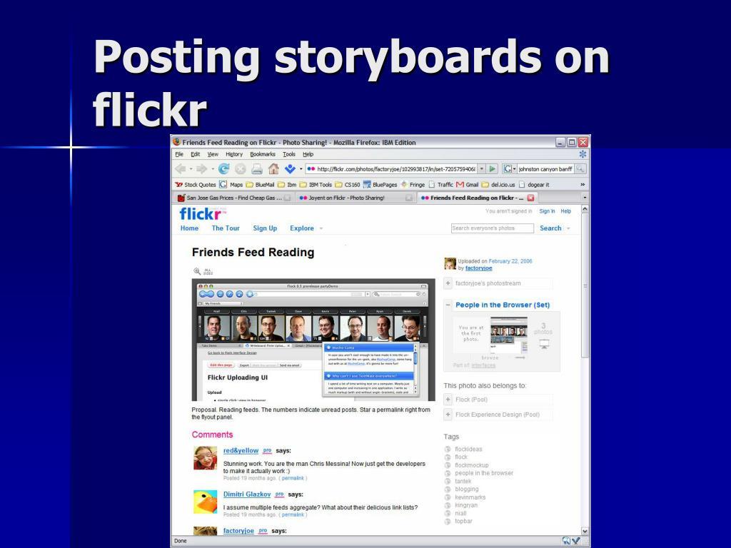 Posting storyboards on flickr