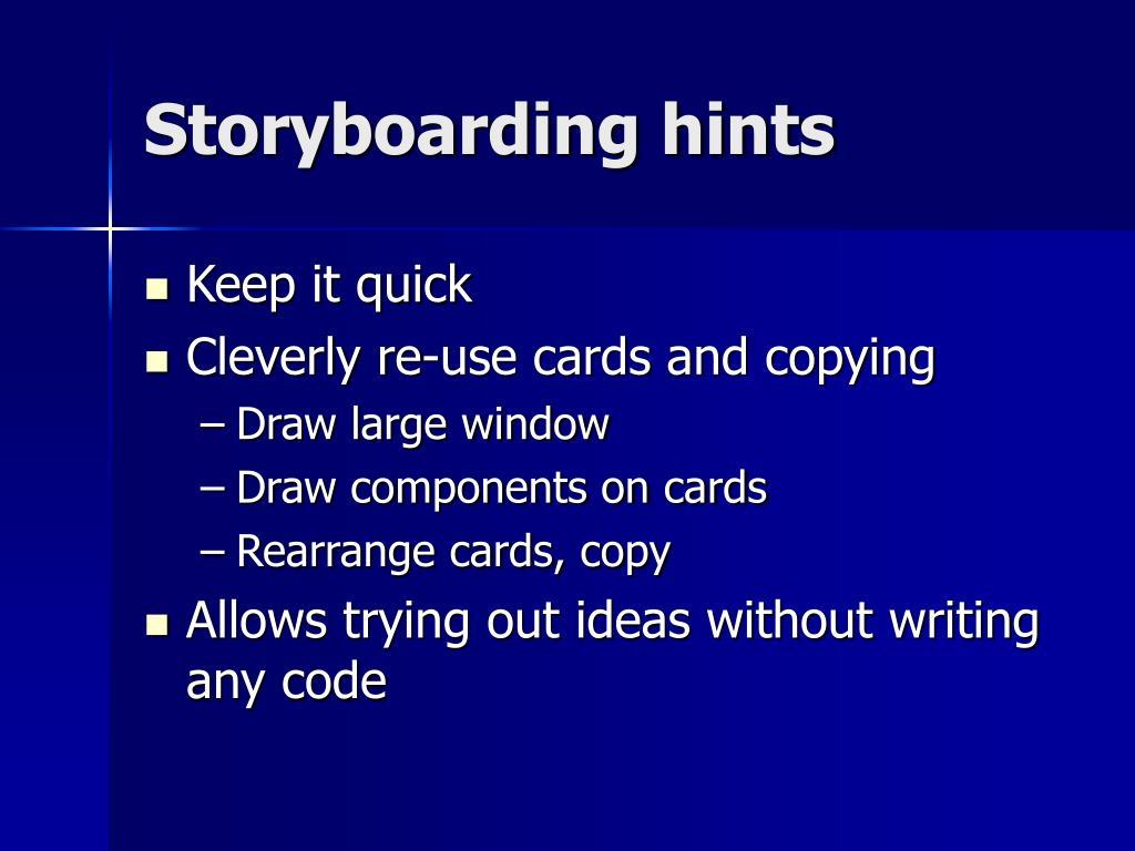 Storyboarding hints