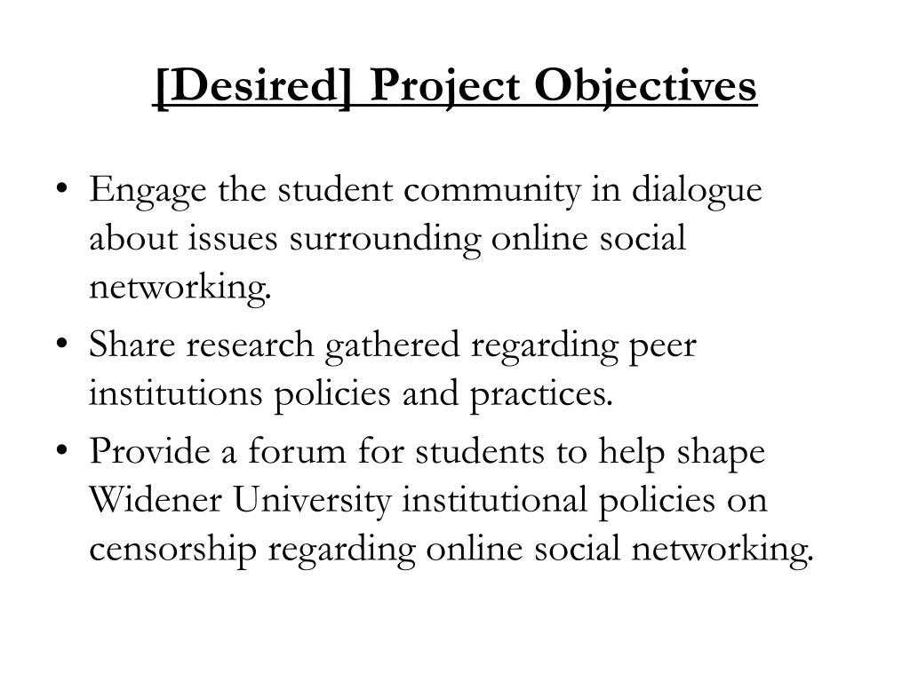 [Desired] Project Objectives