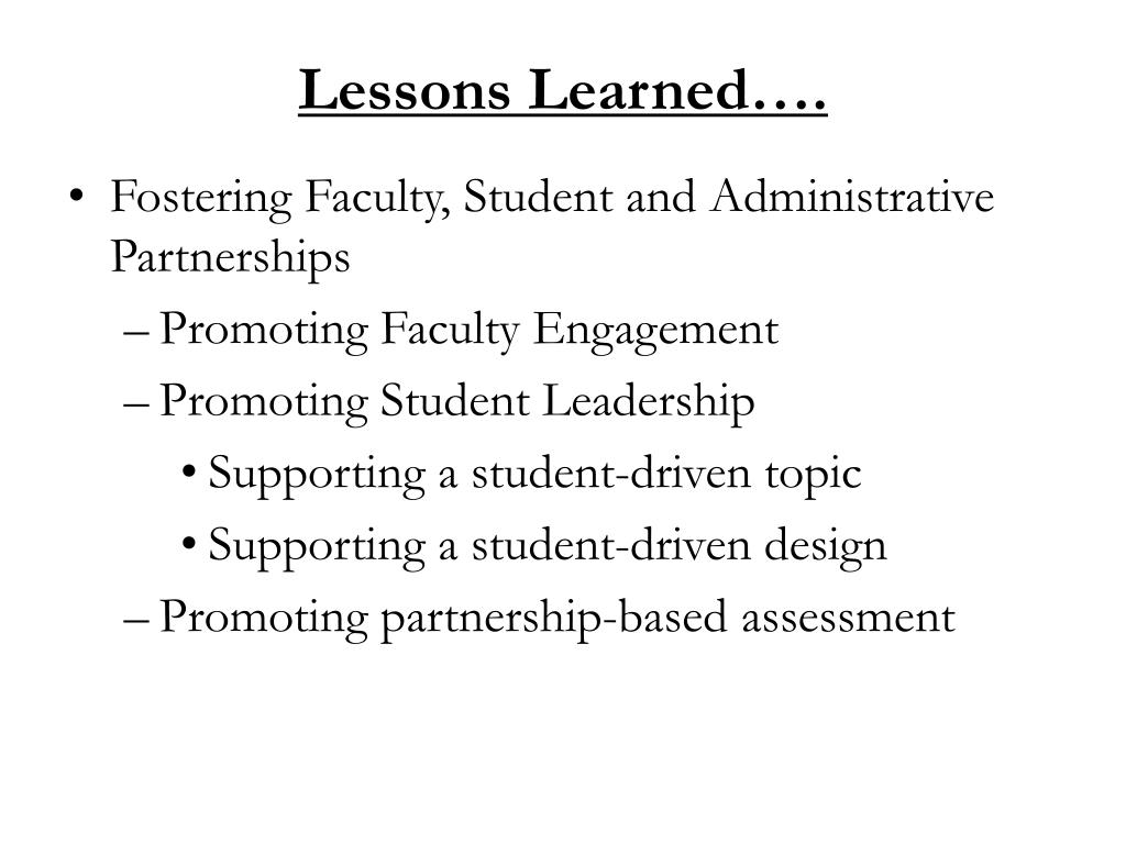 Lessons Learned….