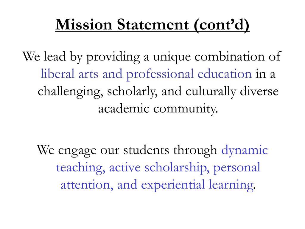 Mission Statement (cont'd)