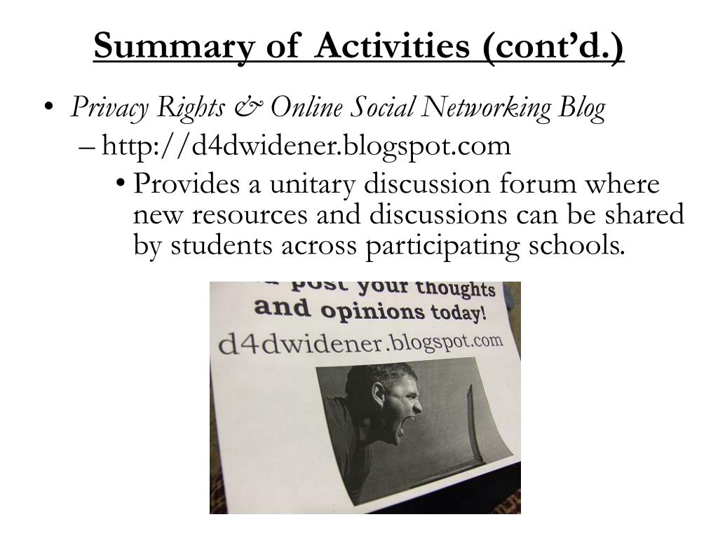 Summary of Activities (cont'd.)
