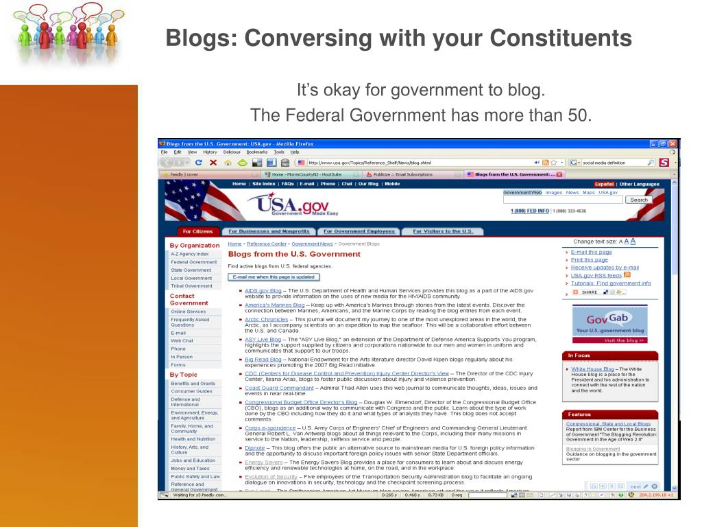 Blogs: Conversing with your Constituents