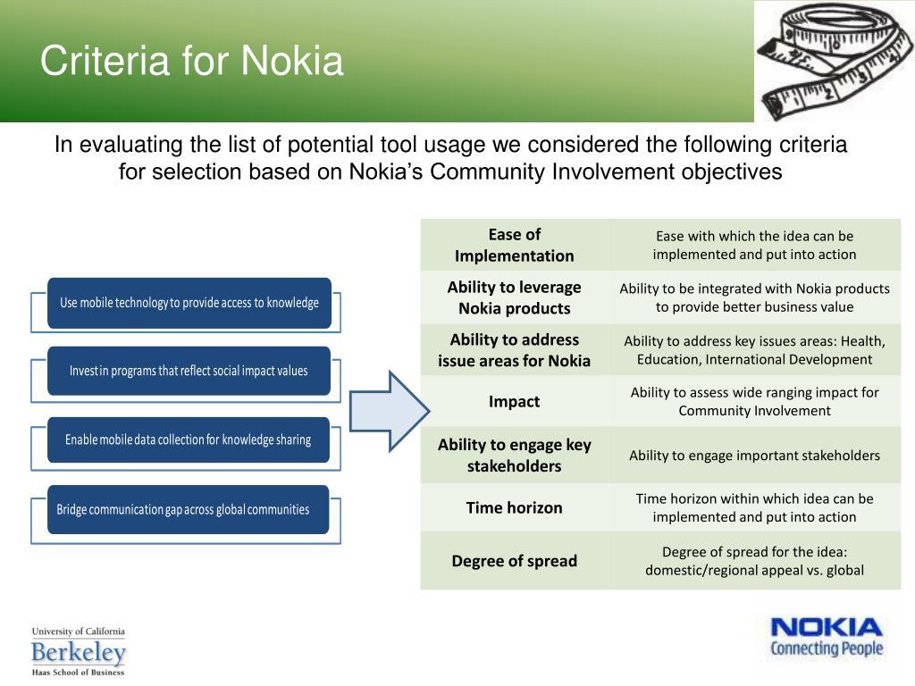 Criteria for Nokia