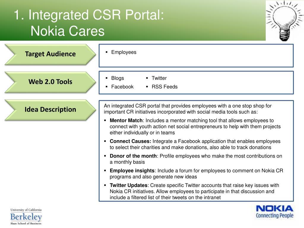 1. Integrated CSR Portal: