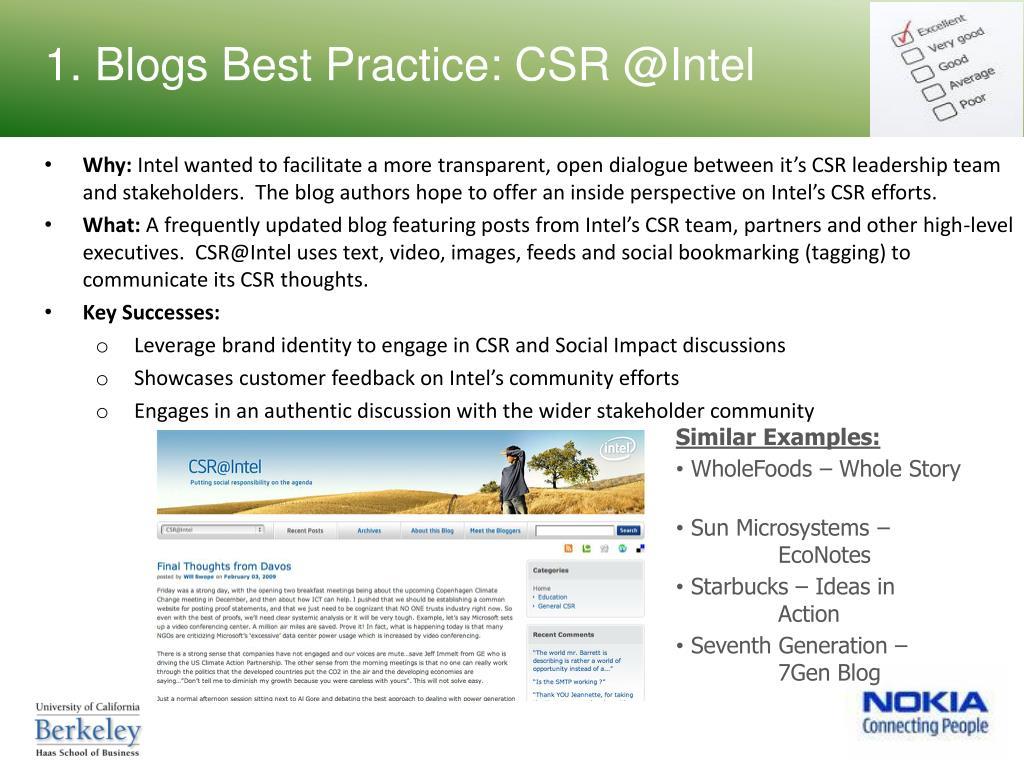 1. Blogs Best Practice: CSR @Intel